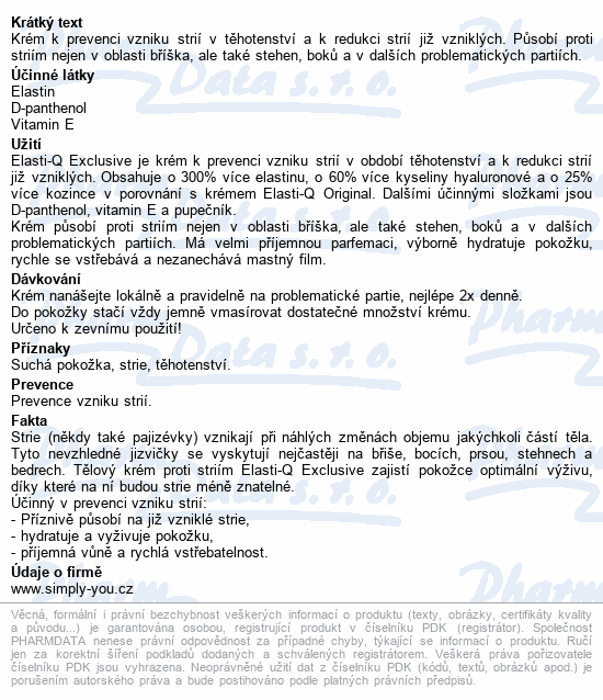 Elasti-Q Exclusive tělový krém proti striím 150ml